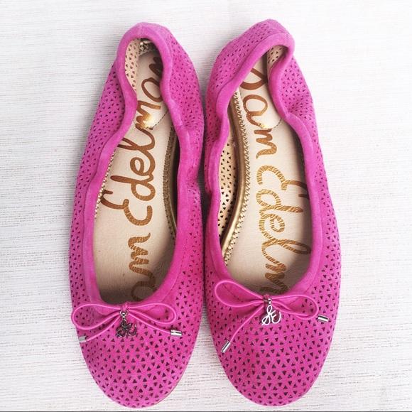 2b21ea43e Sam Edelman Perforated Leather Pink Felicia Flat